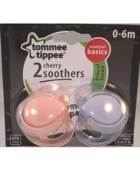 Tommee Tippee Latex Cherry Soothers 0-6 months (2 Pack)