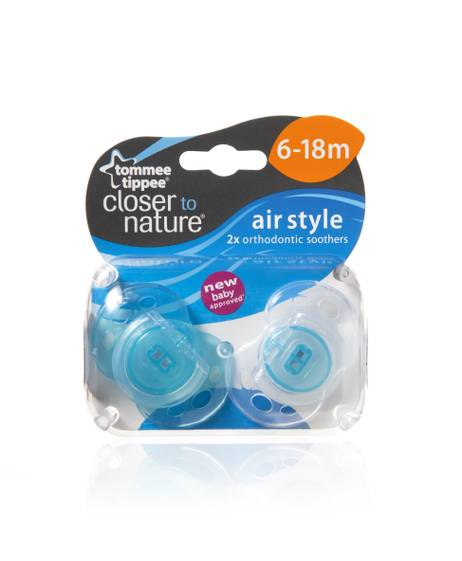 Tommee Tippee Closer to Nature Air Style Soothers 6-18 months (2 Pack) - Light Blue