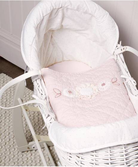 White Wicker Moses Basket with Cotton Cover - Ava Rose