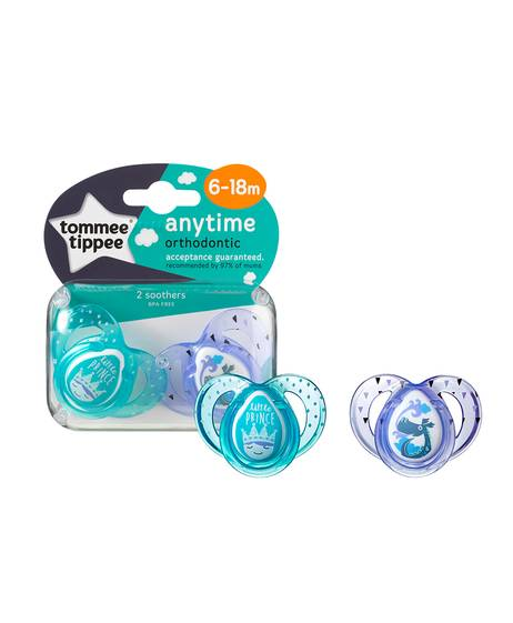 Tommee Tippee 2X 6-18M ANYTIME Soother (Green Purple)