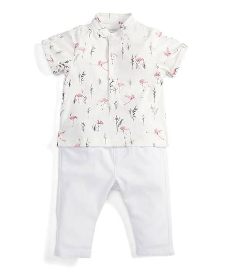 Flamingo Polo Shirt & Chinos Set - 2 Piece