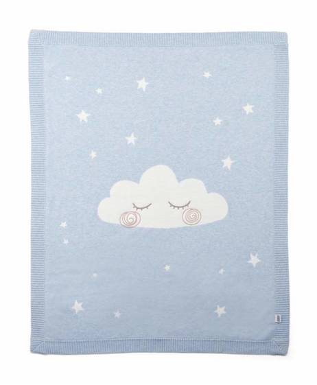 Knitted Cloud Blanket - Blue