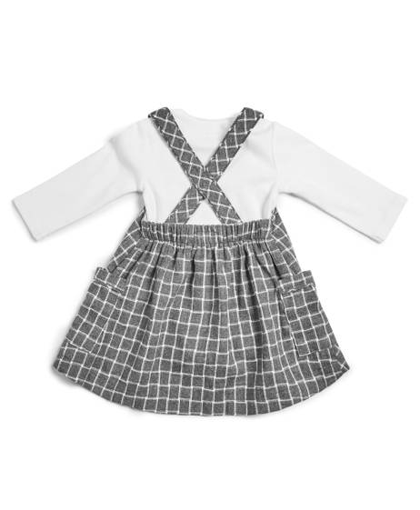 Pinafore Dress & Bodysuit - 2 Piece Set