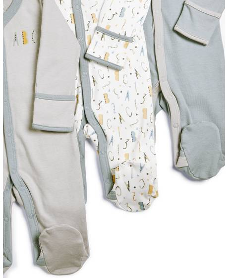 Numbers Sleepsuits - 3 Pack