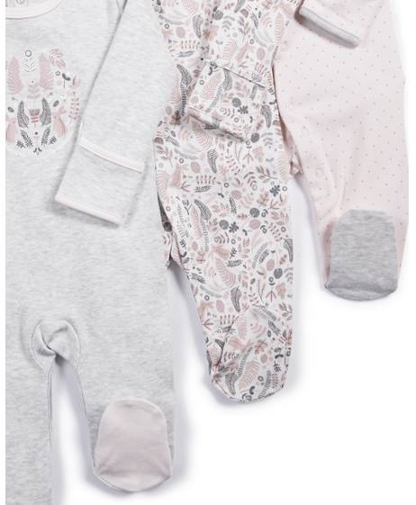 Ditsy Floral Sleepsuits - 3 Pack