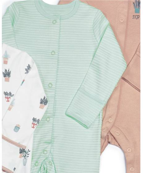 Plants Jersey Sleepsuits - 3 Pack