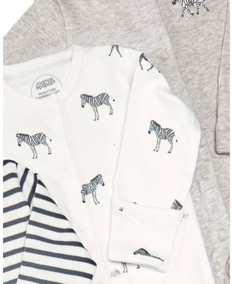 Zebra Sleepsuit - 3 Pack