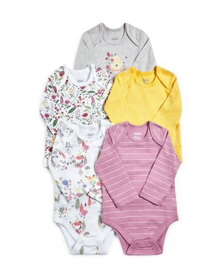 Mixed Long Sleeve Jersey Bodysuits - 5 Pack