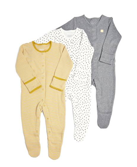 Stripes & Spots Sleepsuits - 3 Pack