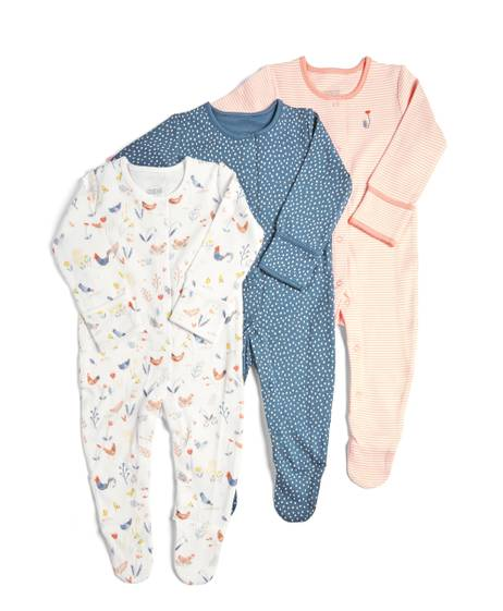 3 Pack of  Girls Farm Sleepsuits
