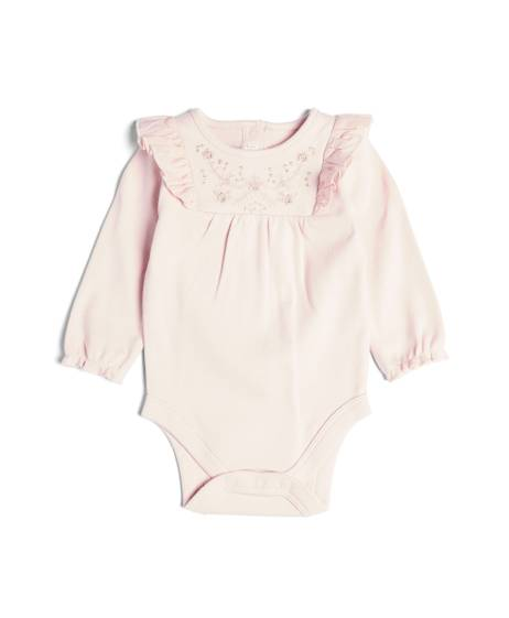 Embroidered Yoke Pink Bodysuit