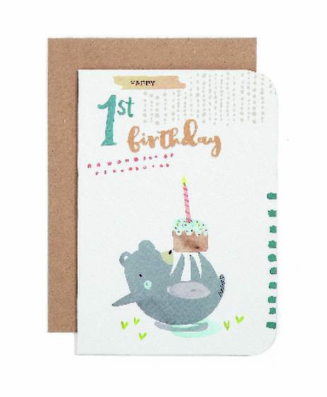 Card - 1st Birthday Bear