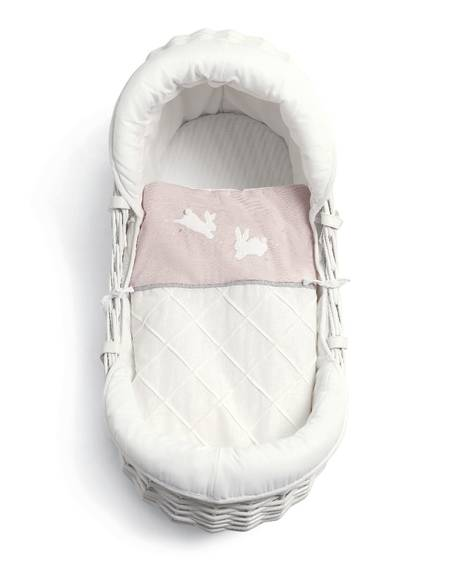 Wicker Moses Basket - Welcome To The World - Pink