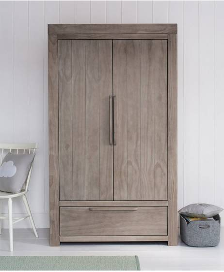 Franklin 2 Door Kids Wardrobe with Drawer - Grey Wash