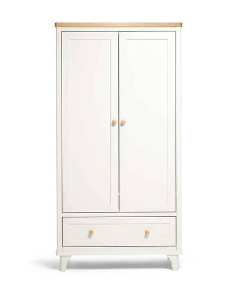 Lucca 2 Door Nursery Wardrobe with Storage Drawer - Ivory Oak