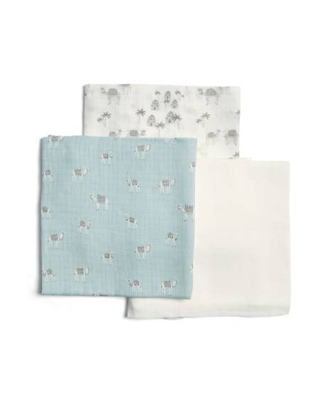 Large Blue Camel Muslin Squares (Pack of 3)