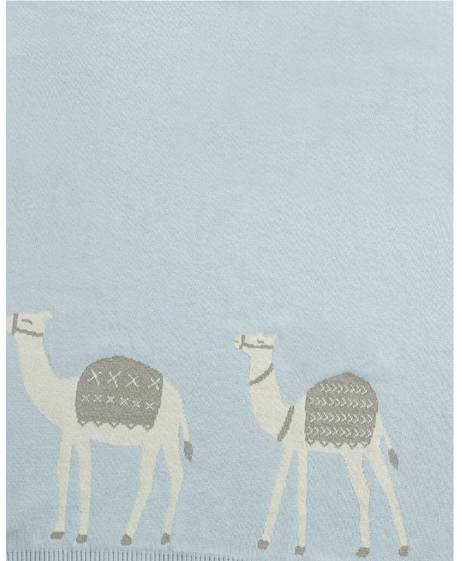 Knitted Blanket (70x90cm) - Blue Camel