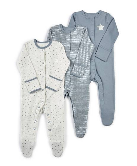 Star Jersey Sleepsuits - 3 Pack