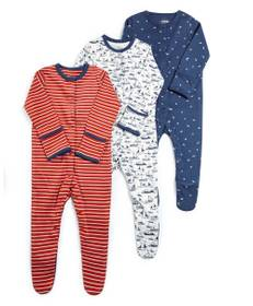 Nautical Jersey Sleepsuits - 3 Pack