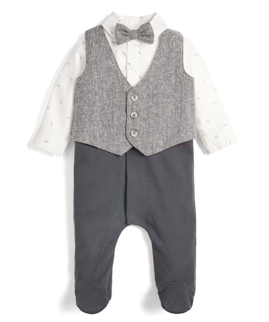 Mamas /& Papas Baby Boys Mock Braces Shirt /& Trouser with Bow Tie All-in-one Romper